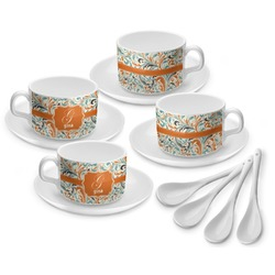 Orange & Blue Leafy Swirls Tea Cup - Set of 4 (Personalized)