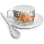 Orange & Blue Leafy Swirls Tea Cups (Personalized)