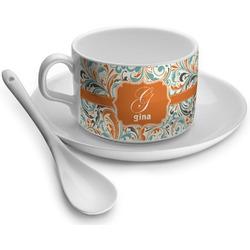 Orange & Blue Leafy Swirls Tea Cups (Personalized)