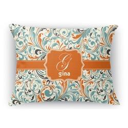 Orange & Blue Leafy Swirls Rectangular Throw Pillow Case (Personalized)