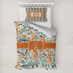 Orange & Blue Leafy Swirls Toddler Bedding w/ Name and Initial