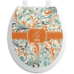 Orange & Blue Leafy Swirls Toilet Seat Decal (Personalized)