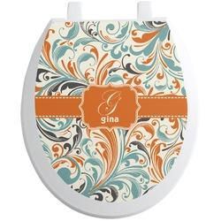 Orange & Blue Leafy Swirls Toilet Seat Decal (Personalized)