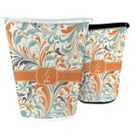 Orange & Blue Leafy Swirls Waste Basket (Personalized)