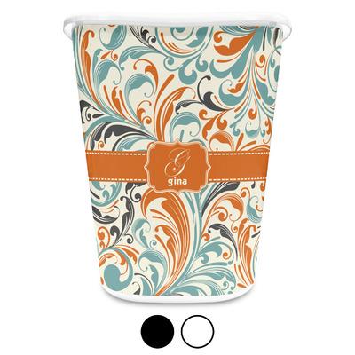Orange & Blue Leafy Swirls Waste Basket (Personalized)