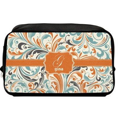 Orange & Blue Leafy Swirls Toiletry Bag / Dopp Kit (Personalized)