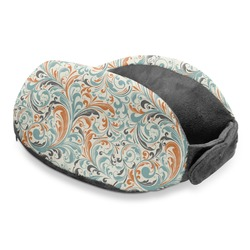 Orange & Blue Leafy Swirls Travel Neck Pillow