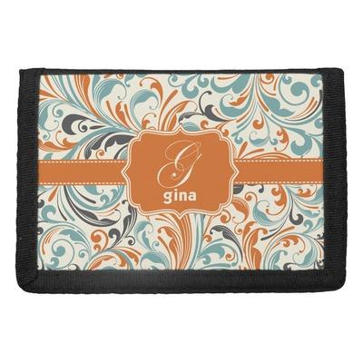 Orange & Blue Leafy Swirls Trifold Wallet (Personalized)