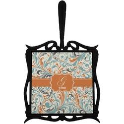 Orange & Blue Leafy Swirls Trivet with Handle (Personalized)