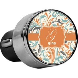Orange & Blue Leafy Swirls USB Car Charger (Personalized)