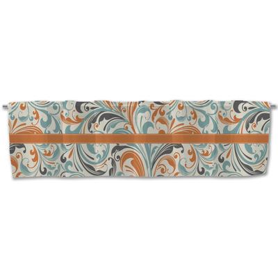 Orange & Blue Leafy Swirls Valance (Personalized)