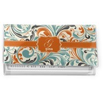 Orange & Blue Leafy Swirls Vinyl Checkbook Cover (Personalized)