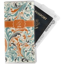 Orange & Blue Leafy Swirls Travel Document Holder