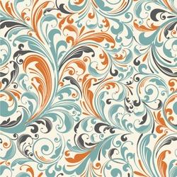 Orange & Blue Leafy Swirls Wallpaper & Surface Covering