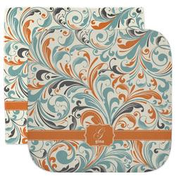 Orange & Blue Leafy Swirls Facecloth / Wash Cloth (Personalized)