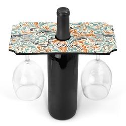Orange & Blue Leafy Swirls Wine Bottle & Glass Holder (Personalized)