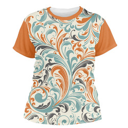 Orange & Blue Leafy Swirls Women's Crew T-Shirt (Personalized)