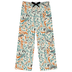 Orange & Blue Leafy Swirls Womens Pajama Pants (Personalized)
