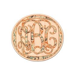 Orange & Blue Leafy Swirls Genuine Wood Sticker (Personalized)
