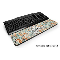 Orange & Blue Leafy Swirls Keyboard Wrist Rest (Personalized)