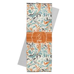 Orange & Blue Leafy Swirls Yoga Mat Towel (Personalized)