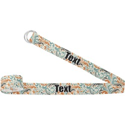 Orange & Blue Leafy Swirls Yoga Strap (Personalized)
