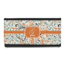 Orange & Blue Leafy Swirls Leatherette Ladies Wallet (Personalized)