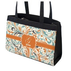 Orange & Blue Leafy Swirls Zippered Everyday Tote w/ Name and Initial