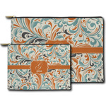 Orange & Blue Leafy Swirls Zipper Pouch (Personalized)