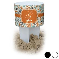 Orange & Blue Leafy Swirls Beach Spiker Drink Holder (Personalized)