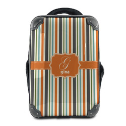 Orange & Blue Stripes Hard Shell Backpack (Personalized)