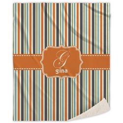Orange & Blue Stripes Sherpa Throw Blanket (Personalized)