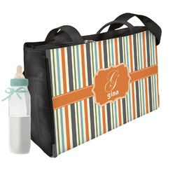 Orange & Blue Stripes Diaper Bag (Personalized)