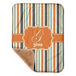 "Orange & Blue Stripes Sherpa Baby Blanket 30"" x 40"" (Personalized)"