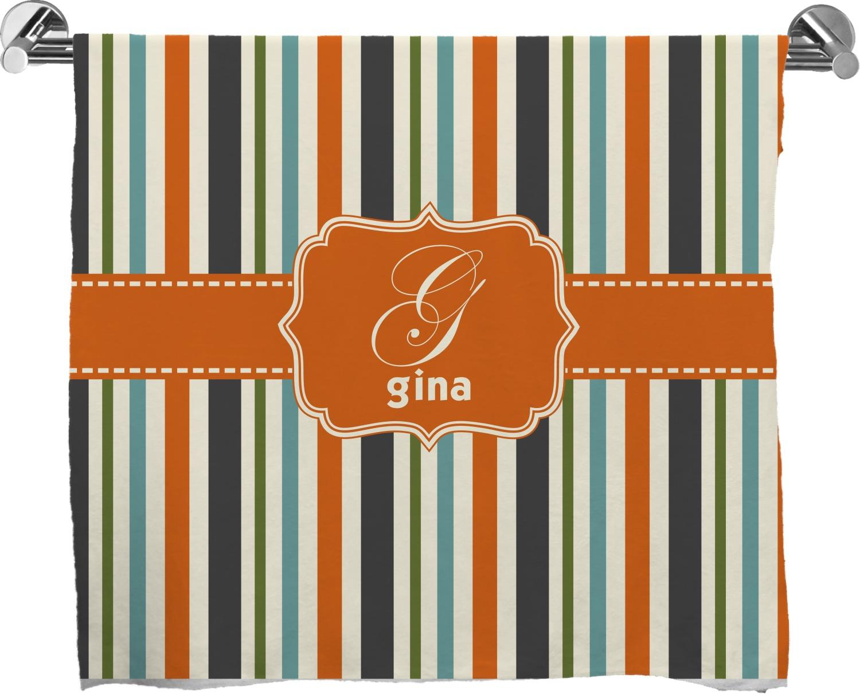 Orange Amp Blue Stripes Full Print Bath Towel Personalized