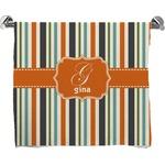 Orange & Blue Stripes Full Print Bath Towel (Personalized)