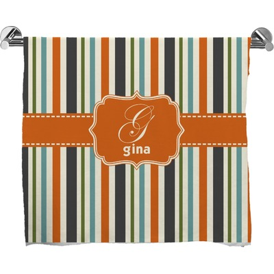 Orange & Blue Stripes Bath Towel (Personalized)