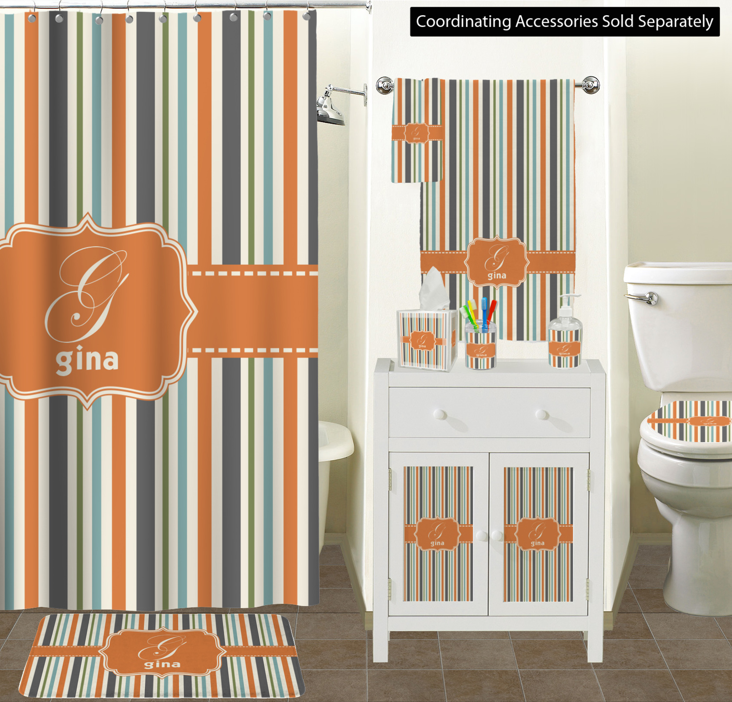 Incredible Orange Blue Stripes Toilet Seat Decal Personalized Gamerscity Chair Design For Home Gamerscityorg