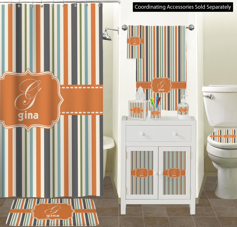 Orange Blue Stripes Shower Curtain Personalized