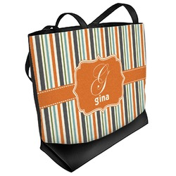 Orange & Blue Stripes Beach Tote Bag (Personalized)