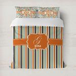 Orange & Blue Stripes Duvet Covers (Personalized)