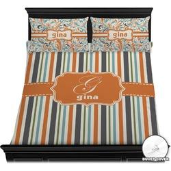 Orange & Blue Stripes Duvet Cover Set (Personalized)