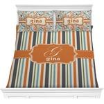 Orange & Blue Stripes Comforters (Personalized)