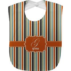 Orange & Blue Stripes Baby Bib (Personalized)