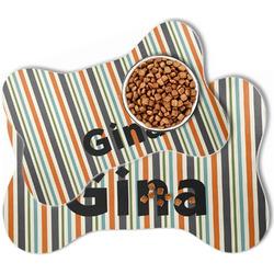 Orange & Blue Stripes Bone Shaped Dog Food Mat (Personalized)