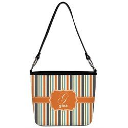 Orange & Blue Stripes Bucket Bag w/ Genuine Leather Trim (Personalized)