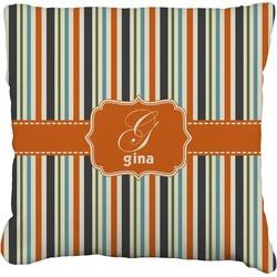 "Orange & Blue Stripes Faux-Linen Throw Pillow 26"" (Personalized)"