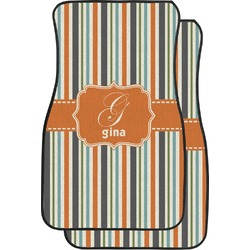 Orange & Blue Stripes Car Floor Mats (Front Seat) (Personalized)