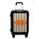 Orange & Blue Stripes Carry On Hard Shell Suitcase (Personalized)