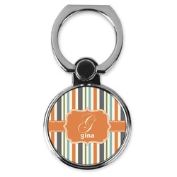Orange & Blue Stripes Cell Phone Ring Stand & Holder (Personalized)